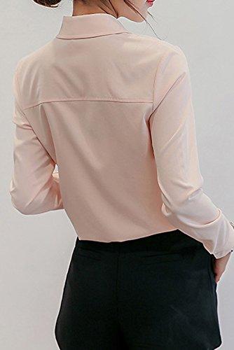 Femmes Longues Printemps Revers Fr Tops Slim Casual Blouses Mode Manches Fox Rose Chemises et Tee Chemisiers Automne Hauts ulein qgg8P4Xwp