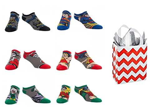 DC Comics Character Unisex No Show Ankle Socks 6 Pack and Bag 2 Piece Gift Set (9-11) (Batman And Robin Shoes)