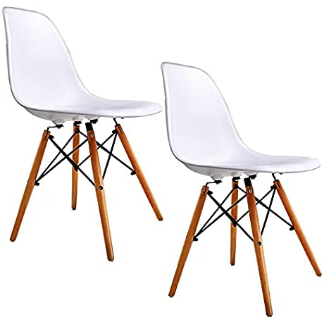 Holi Us Mid Century Dining Side Chairs With Wood Legs White Set Of 2