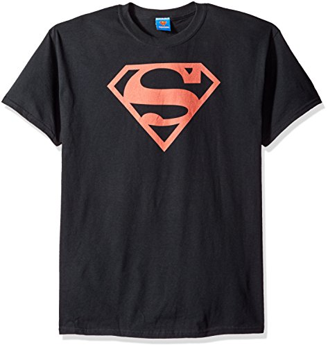 Superman/Red on Black Shield-Short Sleeve Adt (Black Superman Cosplay)