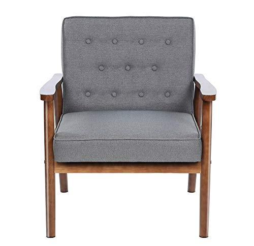 Simple Happyness Single Rest Chair Lounge Arm Sofa Lounge Seat Home Living Bedroom Hotel Lobby Bistro Dining Reading Library Leisure Wood Fabric Vintage Retro Modern Style Comfort Gray Set of 1