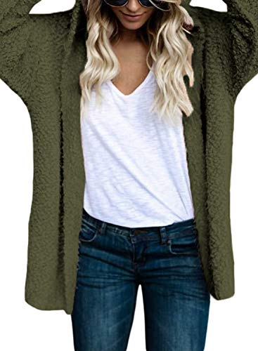 Hooded Wrap Cardigan - GOSOPIN Women Casual Hooded Open Front Knit Cardigan Sweater Coat XX-Large Olive Green