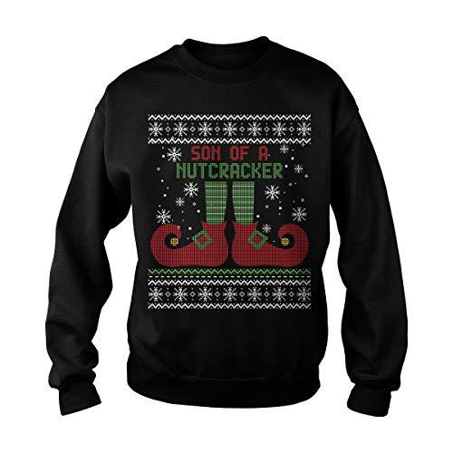 Poogky Unisex Son of A Nutcracker Ugly Christmas Sweater Adult Crewneck Sweatshirt (S, Black) -