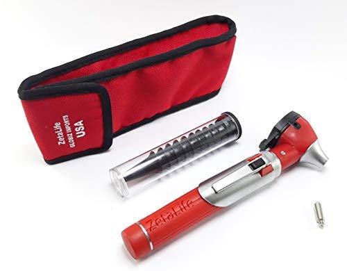 ZetaLife Compact Pocket Size Fiber Optic Otoscope - Red Color