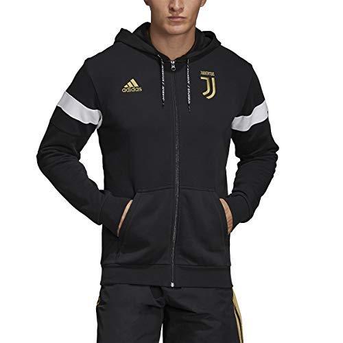 adidas Men's Soccer Juventus Full Zip Hoodie (Large) Black