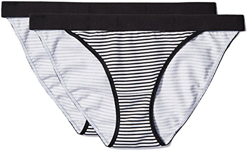 - Iris & Lilly Women's Cotton Bikini with Contrast Waistband,  Pack of 2,  Print, XS (US 0-2)