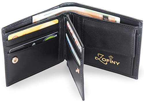 Zofiny - Luxury trifold Nappa leather wallet for men with change purse, 11 RFID card pockets, ID window and 2 bill compartments