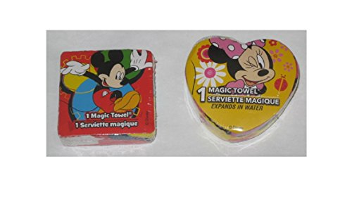 2 Disney Magic Pop Up Towels - Mickey Mouse & Minnie Mouse - Varied Designs