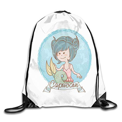 Drawstring Backpacks Bags,Pastel Toned Mermaid Girl On A Pale Background Astrology Themed Banner,5 Liter Capacity,Adjustable