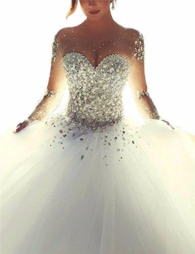 Brautkleid Kristall Damen Hochzeitskleid Changjie Elfenbein Prinzessin Langarm Perlen v4YSxnWO