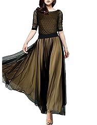 Miusol® Women's Casual Polka Dot 2/3 sleeve Summner Maxi Classical Dress (3154)