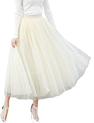Women's A-line Mesh Tulle Skirts with Stretch High Waist and Lining