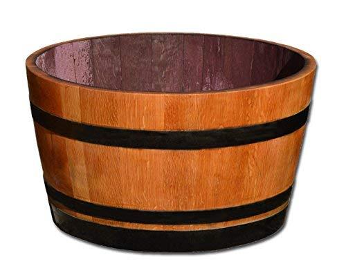 Barril en madera de roble cortado por la mitad, macetero, estanque ...