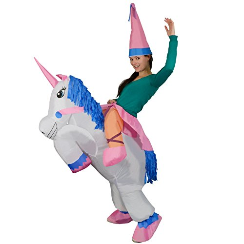 Costume A Unicorn Riding (Adult Inflatable Unicorn Princess Halloween Fancy Dress Blow Up Party Cosplay)