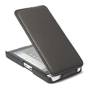 Quaroth Litchi Leather Flip Case Cover For BlackBerry Z10 BB 10 Black + 1 gift