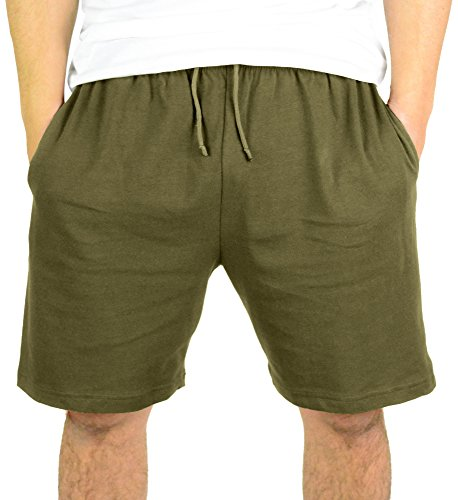 100% Cotton Drawstring Shorts with Pockets| Men's Sweat Shorts for Gym, Lounging, Running – By Mato & Hash - Olive Drab CA6000 S (Olive Drawstring)