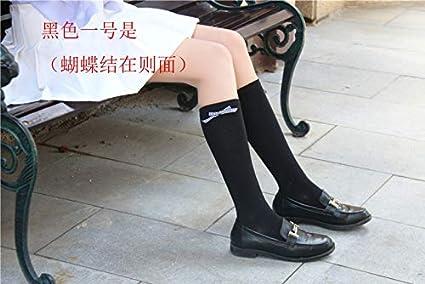 KWXHG Calcetines japoneses Femeninos Lindos Arco Rodilla Calcetines Tubo de algodón Universidad Cereza Viento Bordado Calcetines