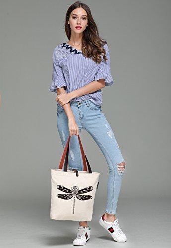 So'each Women's Dragonfly Printed Graphic Canvas Handbag Tote Shoulder Bag