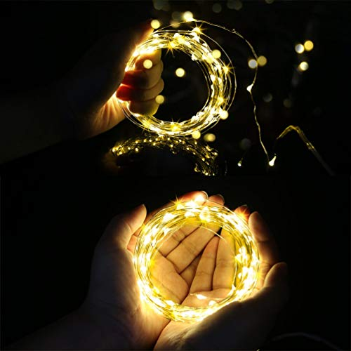 Battery Powered Fairy String Lights[Remote & Timer] 5M 50 LEDs Fairy Lights Decorative Lighting Waterproof for Outdoor and Indoor Party Wedding Birthday Home Bedroom Warm White[Energy Class A+]