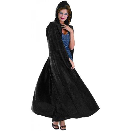 3811 (Black) Adult Panne Velvet Hooded Cape