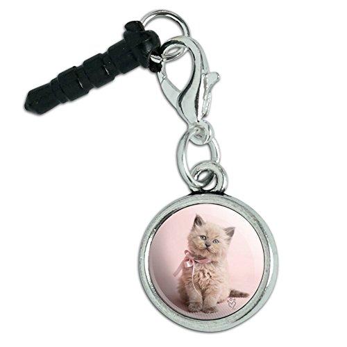 Pink Ribbon Cell Phone Charm - Miradoll Ragdoll Cat Kitten Pink Ribbon Bow Mobile Cell Phone Headphone Jack Anti-Dust Charm fits iPhone iPod Galaxy