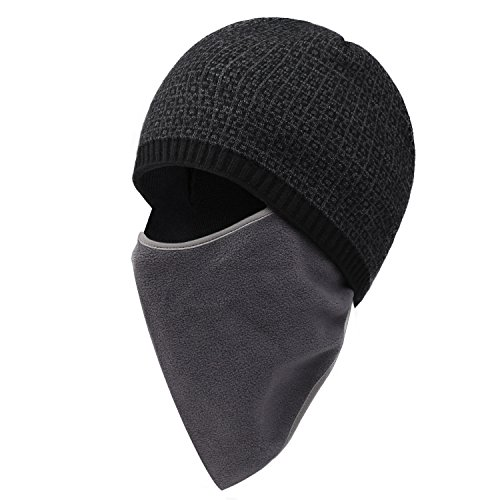 Plizza Winter Ski Thick Knit Wool Warm Hat Face Mask Cover Scarf Slouchy Cable Beanie Skull Windproof Cap For Cycling Camping Running Climbing Skiing Walking Unisex