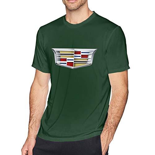 (HANRUI Personalized Cadillac 2014 Logo Tshirts for Boyfriend 100% Organic Cotton O-Neck Forest Green)