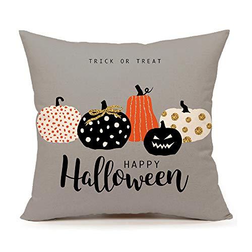 4TH Emotion Halloween Pumpkin Throw Pillow Cover Cushion Case for Sofa Couch 18