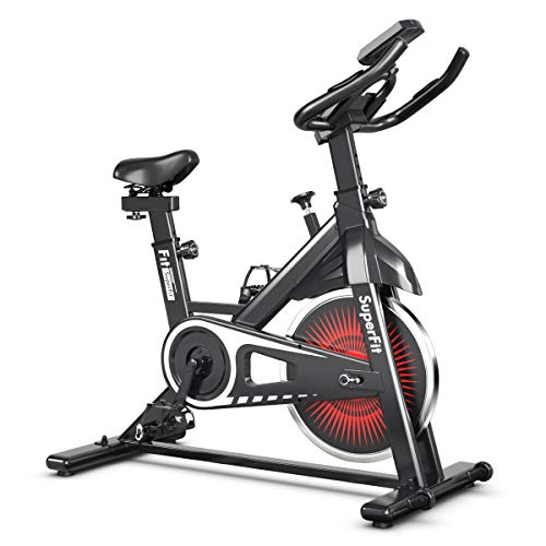 Goplus Indoor Cycling Bike, Silent Belt Drive Exercise Bike Stationary Bicycle with Steel Flywheel, Phone Holder, Adjustable Seat and Handlebar, LCD Monitor, Heart Rate Monitor (Black + White) Superbuy