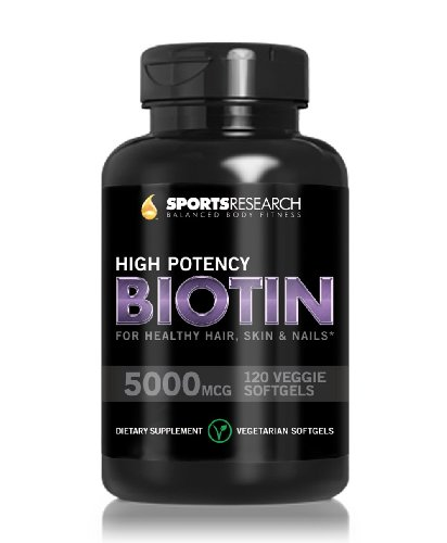 Biotine (Haute Activité) 5000mcg Par Veggie Softgel; Renforcée avec l'huile de coco pour une meilleure absorption; Soutient la croissance des cheveux, peau éclatante et ongles forts; Capsules 120 Mini-Veggie; Made In USA.