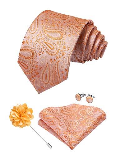 (DiBanGu Men's Paisley Tie and Pocket Square Lapel Pin Woven Necktie Cufflink Set (Coral))