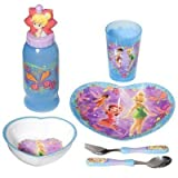 Disney Fairies Mealtime Tableware - 6 pcs Kids Dinnerware Set inspired by Tinker Bell by Zak