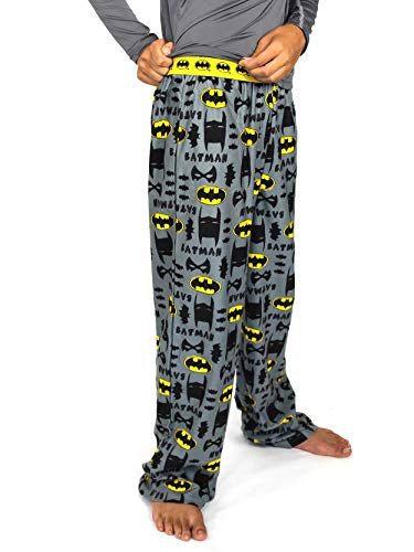 DC Comics Batman Boy's Flannel Pajama Pants (Medium / 6-8, Grey) ()
