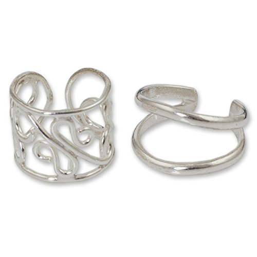 Cards Christmas Filigree (NOVICA .925 Sterling Silver Handmade Non Pierced Ear Cuff Earrings 'Sleek Filigree', (Pair))
