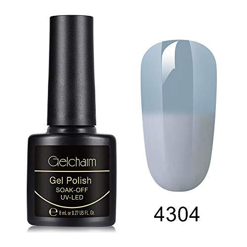 Gelcharm Grey Thermal Color-Changing UV LED Gel Polish Soak Off Gel Nail Polish Varnish Manicure Gloss Nail Art Salon 8ML 4304 ()