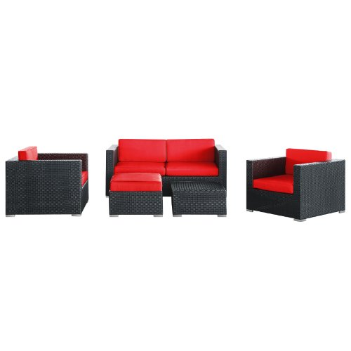 lexmod-malibu-outdoor-wicker-patio-5-piece-sofa-set-in-espresso-with-red-cushions