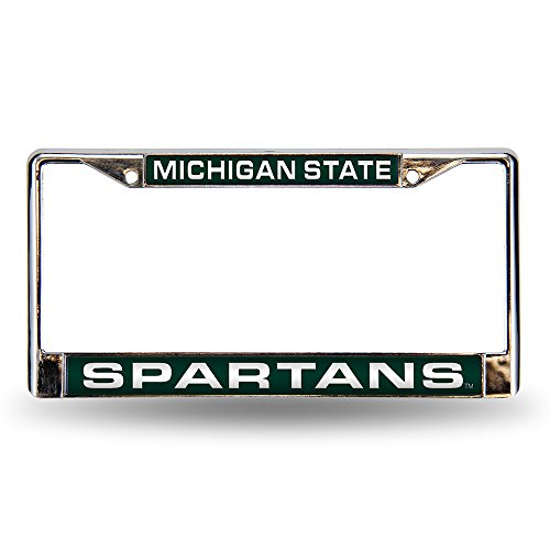Fan Chrome Acrylic - Rico Industries NCAA Michigan State Spartans Laser Cut Inlaid Standard Chrome License Plate Frame