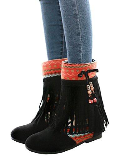 Minetom Mujer Otoño Invierno Cuero Nobuck Calentar Botas De Flecos con Cuentas Zapatos Cargadores Cómodo Botines Negro