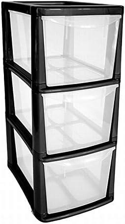 Black Plastic Medium 3 Drawer Tower Storage Unit A5 Stationery Filing 47.5cm