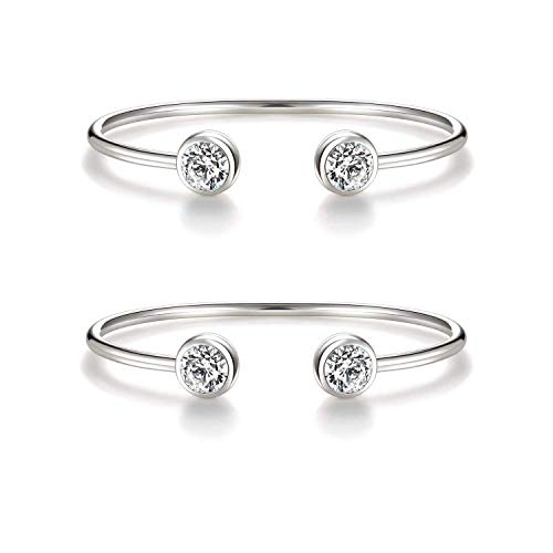 """""""You & Me"""" Inspirational Open Cuff Bangle Bracelets Set – Cubic Zirconia Charm Adjustable Stackable Bangles Gift for Best Friends, Sisters and Mother & Daughter (2 pcs white gold bracelets set)"""