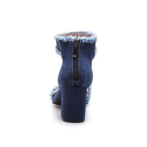 Tacones Gruesos Cómodas Punta Mujer para de Azul Tobillo Odetina Vaquera de Sandalias con 8ZPwWqvC
