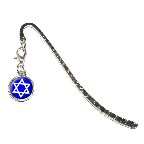 Graphics and More Star of David - Shield Jewish Metal Bookmark Page Marker with Charm (Charm_Book_0053)