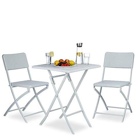 Set tavolo e sedie bianco pieghevole da esterno per giardini. Tavoli ...