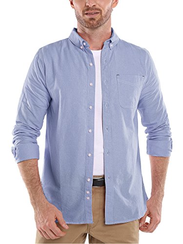 Button Oxford Down Sports Shirt - Men's Solid Color Oxford Long Sleeve Button Down Casual Shirt Sapphire XX-Large