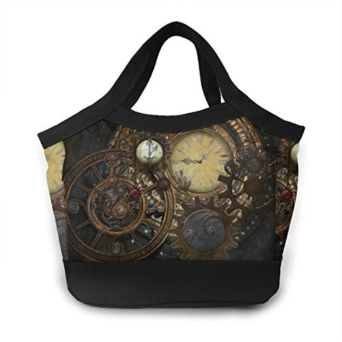 Lunch Bag Steampunk Clocks Food Container Organizer for Women Men And Kids, Office School Work Lunch Holder Polyester Totebag Reusable Sandwich Bag ()