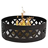Best Choice Products 37in Heavy Duty Portable Bottomless Crossweave Fire Pit Ring for Camping, BBQ, and Parks - Black