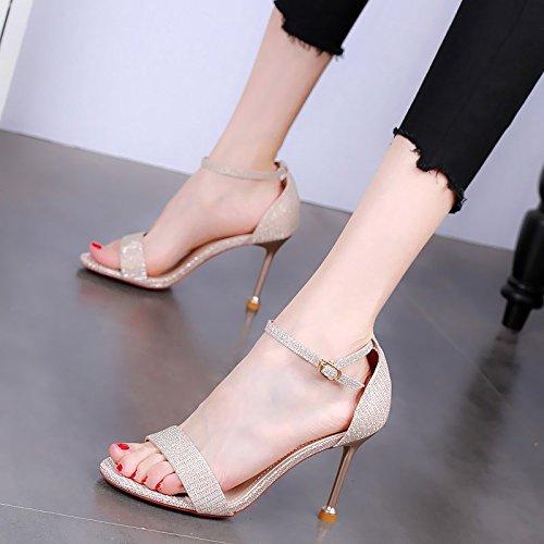 YMFIE Sandalias Simples y Elegantes del Dedo del pie del Estilete de Las Sandalias Abiertas del Verano de Las señoras del Banquete de los Altos Talones 金色