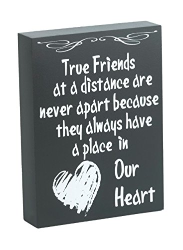 JennyGems Wooden Box Sign True Friends At A Distance Are Never Apart Because They Always Have A Place In Our Heart - Home and Wall Decor Accents - Friendship Sign with Quote (Ideas Cute Desk Work For)