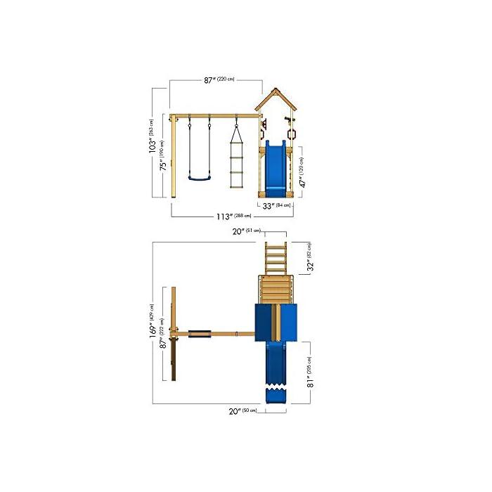 41ZIRqiqZML WICKEY Torre de escalada incluyendo conjunto completo de accesorios con columpio, tobogán muro para trepar y cajón de arena Poste 9x4,5cm - Poste de columpio 9x9cm - Altura de plataforma 120cm - Madera maciza impregnada a presión Calidad y seguridad verificadas - Instrucciones de montaje sencillas y detalladas - Made in Germany