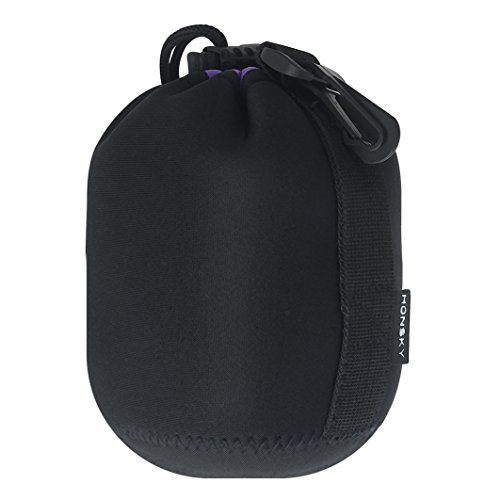 Honsky Thick Neoprene Drawstring Protective DSLR Camera Lens Bag Carrying Cases Protector Pouch Cover for Canon Nikon Pentax Sony Olympus Panasonic Fuji Leica Sigma Tamron, (Drawstring Lens Pouch)